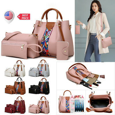 4PCS Set Women PU Leather Handbag Shoulder Bag Clutch Tote Purse Card Holder New