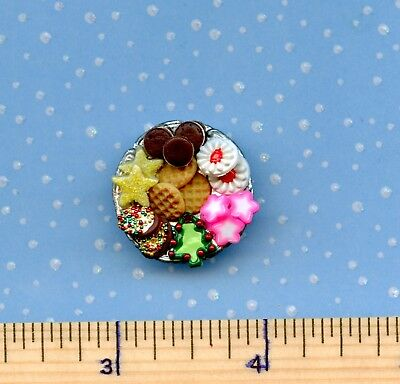 Dollhouse Miniature SMALLER Plate of Sue's CHRISTMAS Holiday Cookies  #  510
