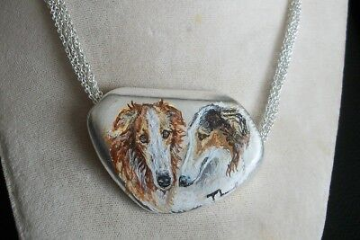 Hand Painted Borzoi Russian Wolfhound Silvertoned metal necklace