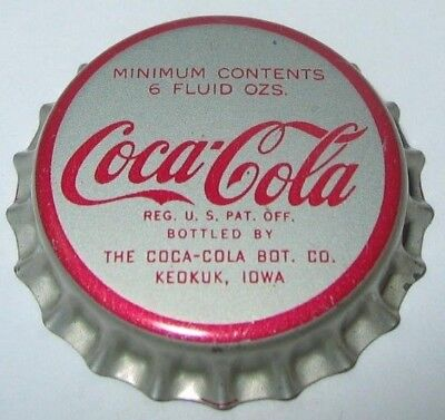 COCA-COLA SODA BOTTLE CAP; 1950's; KEOKUK, IOWA; UNUSED CORK