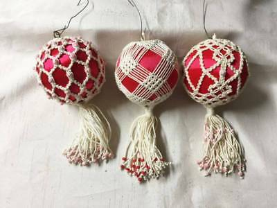 Lot of 3 Vintage HaND Crochet/Tatted & Beaded Red Silk Christmas Tree Ornaments