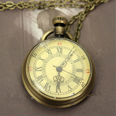 Antique Vintage Bronze Glass Steampunk Pocket Watch Chain Necklace Pendant Gift