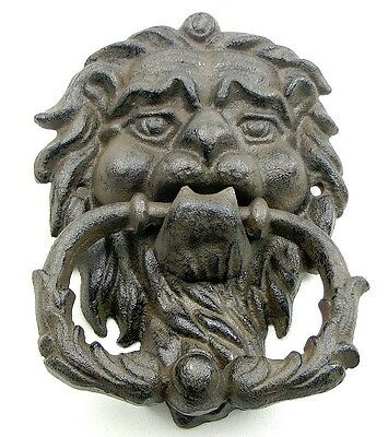 "Large  CAST IRON- Lion Head  Door Knocker 7"" x 5"" Rustic Brown Mounted"