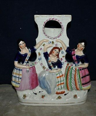Rare Large Staffordshire Pottery Three Graces Pocket Watch Holder - Fine Detail