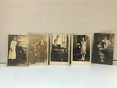Vintage Lot of 5 Post Cards of Men & Women RPPC divided & undivided backs w/Bird