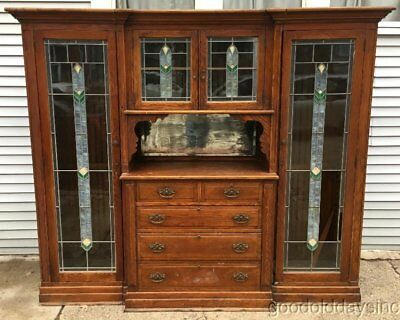 Antique Oak Built-in Cabinet Buffet Stained Leaded Glass Door Chicago Bookcase