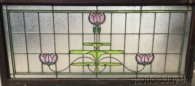 "Large Antique Stained Glass Transom Window 58"" by 27"" Circa 1905 lotus flower"