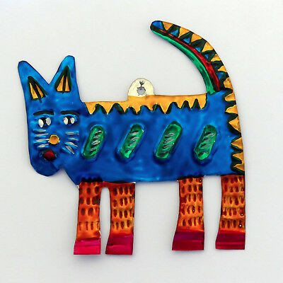 Hand-Punched Tin Ornament | cat  gato | Colorful Mexican Folk Art