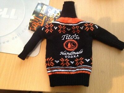 Tito's Vodka 750 ml Bottle Black sweater Christmas Cover NWT Promo collectible