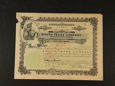 1923 SOUTH TEXAS COMPANY of SAN ANTONIO TEXAS STOCK with MISS COLUMBIA IMAGERY