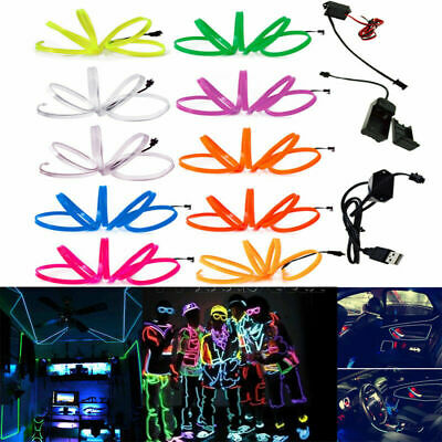 Neon LED Light Glow SUV EL Wire String Rope Tube Auto Dance Party + Controller