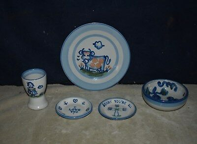 Nice Lot Of  M. A. Hadley Pottery  - Plate, Bowl Dishes - I Love You - Signed
