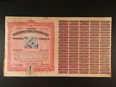 Lot: 3 1915 Mexico Oil Refinery Stock  Certificates~Coupons~Train Imagery~