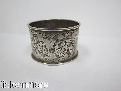 Antique British Birmingham C.e.w Sterling Silver Etched Scroll Napkin Ring