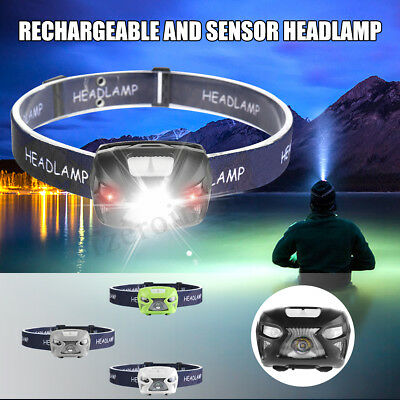 12000LM LED Rechargeable Motion Sensor Headlamp USB Camping Headlight Lamp
