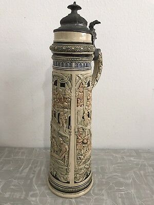 Antique Tall Lidded German Beer Stein 48 X