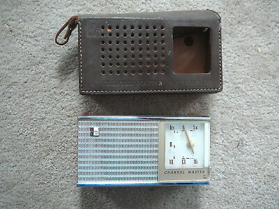 CHANNEL MASTER 6506 Vintage 6 TRANSISTOR RED CASE RADIO - LTHR CVR - UN TESTED