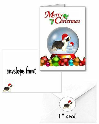 30 Bearded Collie Christmas cards seals envelopes 90 pieces snow globe design