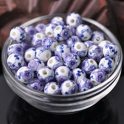 NEW 20pcs 10mm Round Smooth Ceramic Loose Spacer Beads Flower Pattern #39
