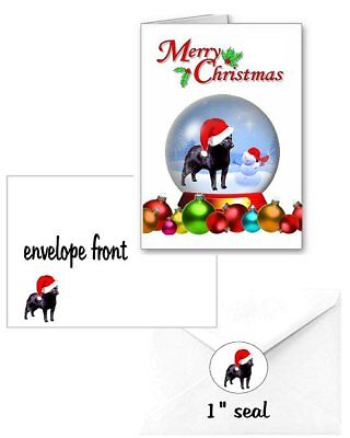 30 Schipperke Christmas cards seals envelopes 90 pieces snow globe design