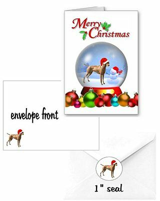 30 Vizsla Christmas cards seals envelopes 90 pieces snow globe design laser