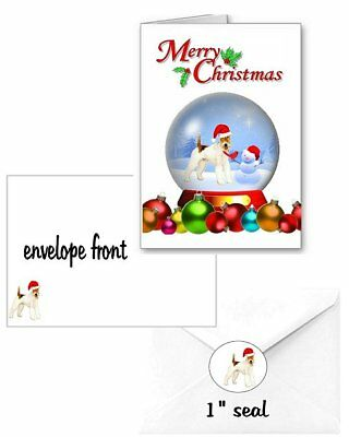 30 Wire Fox Terrier Christmas cards seals envelopes 90 pieces snow globe