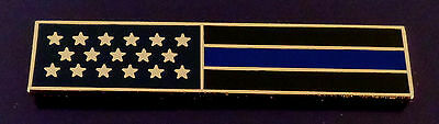 THIN BLUE LINE US Flag GOLD Uniform Award/Commendation Bar Pin MADE IN USA!