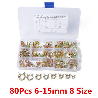 New 80Pcs 6-15mm 8 Size Car Spring Steel Clip Water Pipe Air Tube Clamp Fastener