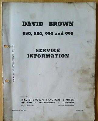 David Brown 850 880 950 990 Implematic Tractor Service Information Manual