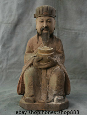 """14.4"""" Old Chinese Wood Lacquerware Folk Feng Shui Mammon Money Wealth God Statue"""