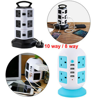 3M 8/10 Way Gang Surge Protected Tower Socket Extension Lead Cable + 4 Usb Port