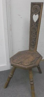 ANTIQUE African Style Hand Carved Solid Oak Milking Stool  - W66