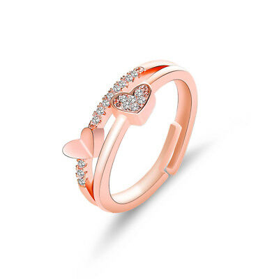 Rose Gold Silver New Love Heart and Soul Crystal Ring for Women Jewelry Gifts