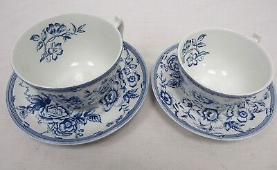 Vintage Spode 2 Cups and 2 Saucers White & Blue Made in England - SHI P40