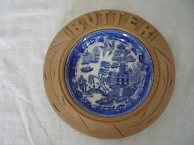 Vintage Wood Butter Dish Blue Willow Liner English Kitchenalia Cottage Display