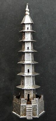 Exquisite Antique Chinese Export Solid Silver Miniature Pagoda; Tuck Chang c1890