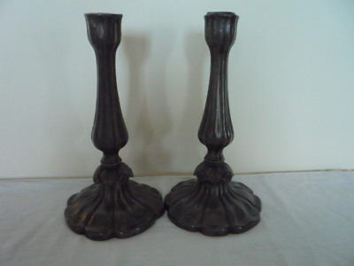 Pair of Old Pewter Candlesticks Decorative Interiors Display Country House