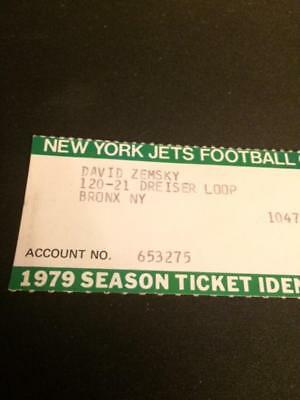 1979 New York Jets Season Ticket ID Card Official Jets/NFL