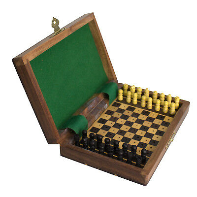 Chess Travel Set Wooden Board Game Vintage Folding Portable Pieces Urban Home