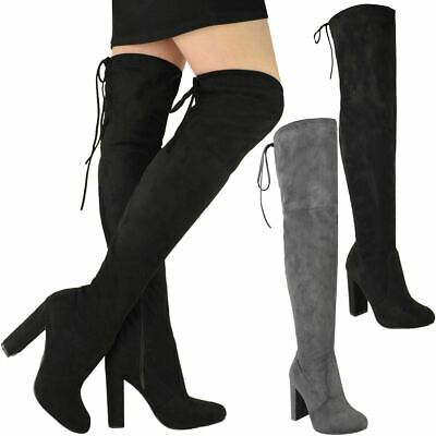 Womens Ladies Thigh High Over The Knee Boots Block High Heels Party Winter Size
