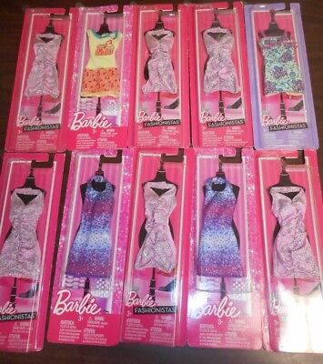 Lot Of 10 Assorted Mattel Barbie Fashionistas Outfits Brand New In Package