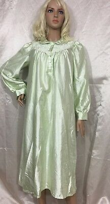 Vtg Character Lime Green Pink Satin Flannel Brushed Back Nightgown Sz Large