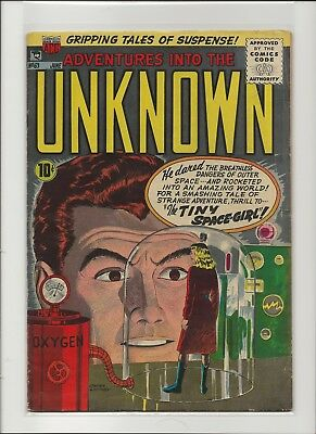 Adventures Into The Unknown 63 Fine 6.0 Ogden Whitney Golden Age ACG Horror 1955