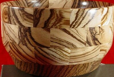 Wooden Segmented Zebrawood Bowl Private Stock Unique Nice Figure Heavy -Tt