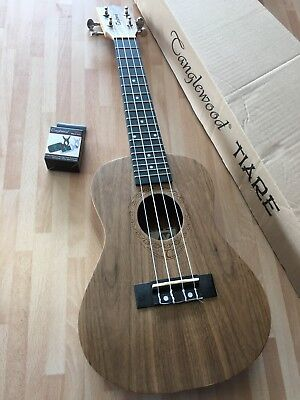 RRP £79 Concert Acoustic Ukulele in Black Walnut w/ Arched Back & digital tuner