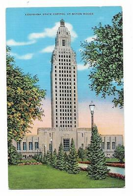 Vintage Louisiana Linen Postcard State Capitol at Baton Rouge