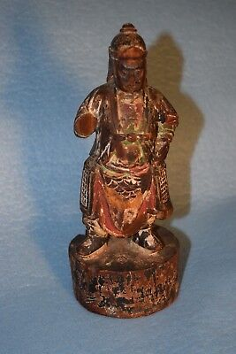 Antique Chinese Poly-chrome Carved Painted Wood Figure Temple Statue signed