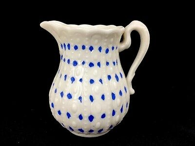 """Antique Porcelain Blue And White Molded Creamer Mini Pitcher Relief 3 1/2"""" Tall"""