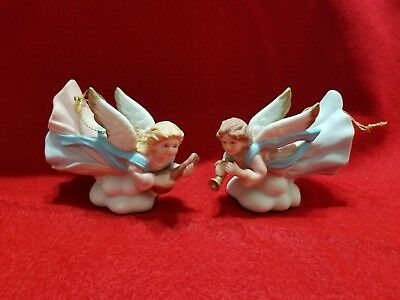 Homco #5722 Porcelain Flying Pink angel  Christmas tree Ornament  set of 2