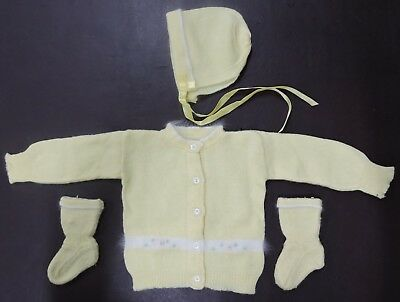 Vtg Infant Yellow Sweater-Hat-Booties Set